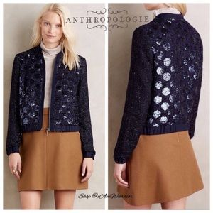 Anthropologie {Elevenses} sequin zip bomber jacket